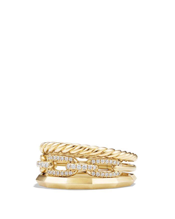 David Yurman Stax Narrow Ring with Diamonds in 18K Gold    Bloomingdale's