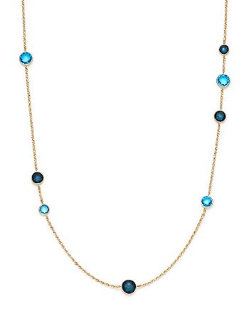 """Bloomingdale's - London Blue Topaz and London Blue Sapphire Bezel Station Necklace in 14K Yellow Gold, 24""""- 100% Exclusive"""