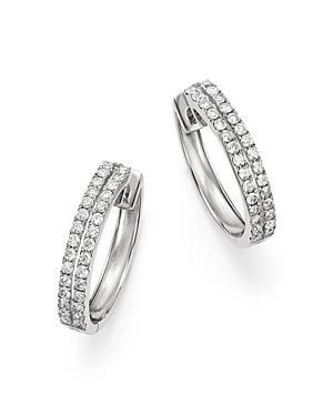 Diamond Two Row Hoop Earrings in 14K White Gold, 1.0 ct. t.w. - 100% Exclusive