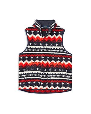 Ralph Lauren Childrenswear Boys Nordic Print Sherpa Fleece Vest  Big Kid