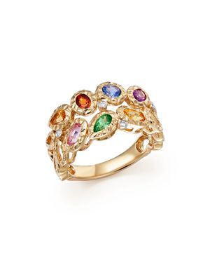 Multicolor Sapphire and Diamond Band in 14K Yellow Gold