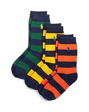 Ralph Lauren Childrenswear Boys Rugby Stripe Socks 3 Pack  Sizes 47