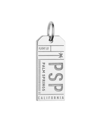 JET SET CANDY Psp Palm Springs California Luggage Tag Charm in Silver