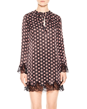 Sandro Wendy Lace-Trimmed Printed Dress