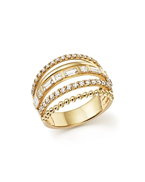 Diamond Multi Row Ring in 14K Yellow Gold, 1.20 ct. t.w. - 100% Exclusive