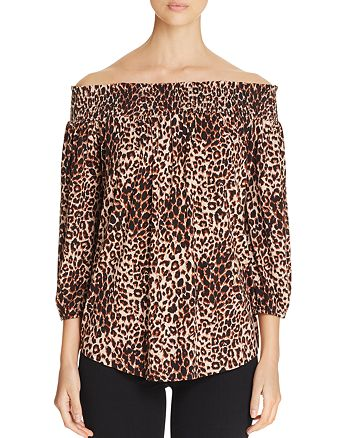 Cupio - Off-The-Shoulder Animal Print Blouse