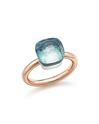 Pomellato - Nudo Classic Ring with Blue Topaz in 18K Rose and White Gold