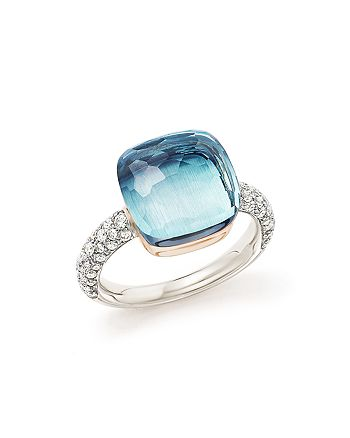 Pomellato - Nudo Maxi Ring with Faceted Blue Topaz and Diamonds in 18K White and Rose Gold