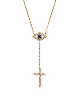 "Bloomingdale's - Diamond and Blue Sapphire Evil Eye and Cross Y Necklace in 14K Yellow Gold, 14"" - 100% Exclusive"