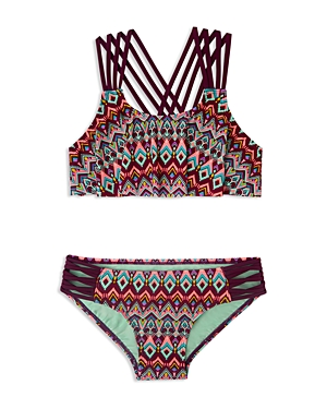 Gossip Girl Girls' Deco Diamond Print 2-Piece Swimsuit - Sizes 7-16