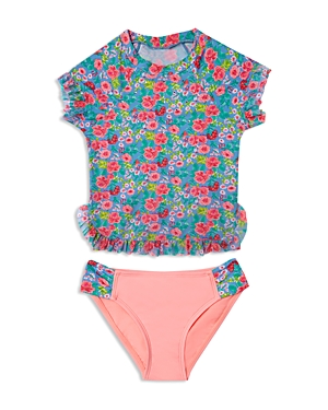 Hula Star Girls' Rose Tango Rash Guard 2-Piece Swimsuit - Sizes 2-6X