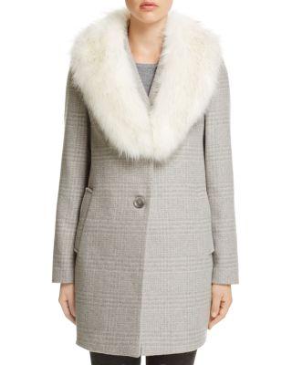 $T Tahari Olivia Faux Fur-Trim Coat - Bloomingdale's