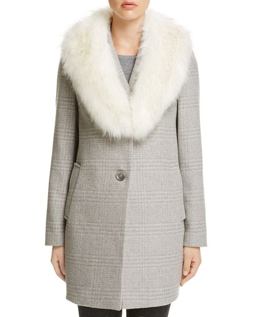 T Tahari - Olivia Faux Fur-Trim Coat