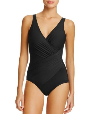 MIRACLESUIT Razzle Dazzle Siren Twist-Front Underwire Allover Slimming One-Piece Swimsuit Women'S Swimsuit in Black