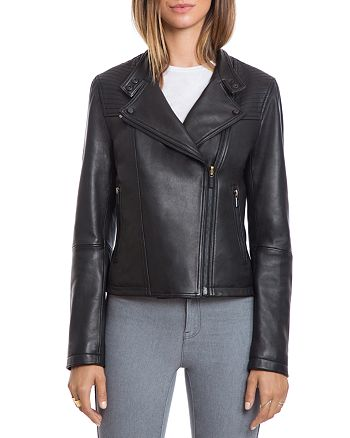 BAGATELLE.CITY - Lamb Leather Quilted Moto Jacket