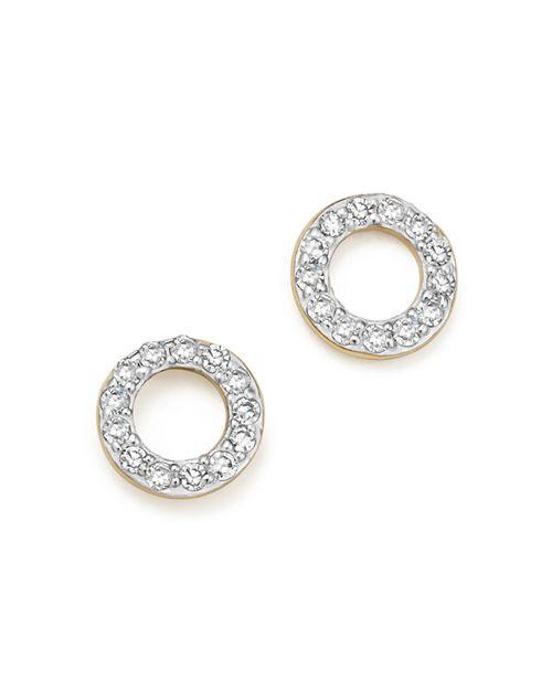 MATEO - 14K Yellow Gold Mini Diamond Circle Stud Earrings