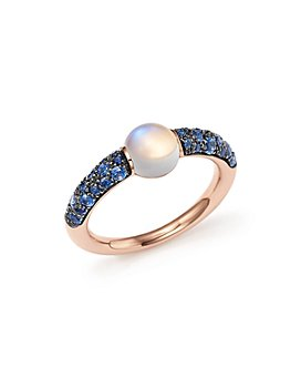 Pomellato - M'ama Non M'ama Ring with Adularia and Blue Sapphire in 18K Rose Gold