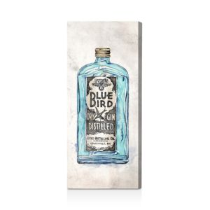 Oliver Gal Blue Bird Gin Wall Art, 12 x 30