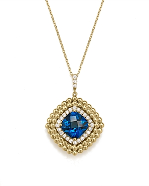 London Blue Topaz and Diamond Beaded Pendant Necklace in 14K Yellow Gold, 16 - 100% Exclusive