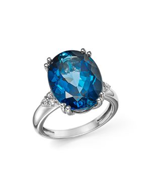 London Blue Topaz Statement Ring with Diamonds in 14K White Gold - 100% Exclusive
