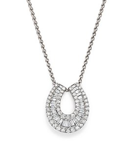 Bloomingdale's - Diamond Round and Baguette Horseshoe Pendant Necklace in 14K White Gold, 2.0 ct. t.w.- 100% Exclusive