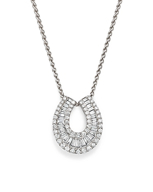 Diamond Round and Baguette Horseshoe Pendant Necklace in 14K White Gold, 2.0 ct. t.w. - 100% Exclusive