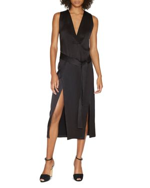 Halston Heritage Satin Double-Slit Dress 2425250