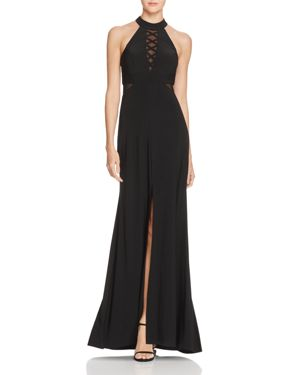 Avery G Illusion Crisscross Gown
