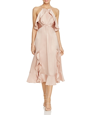 Jarlo Ruffled Satin Midi Dress
