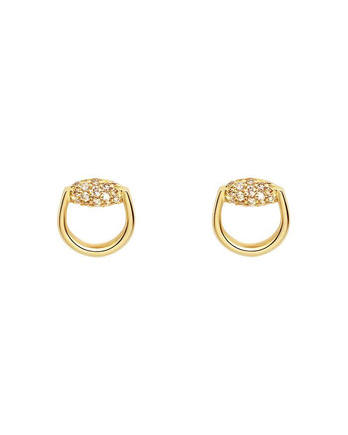 a883e2b99 Gucci 18K Yellow Gold Horsebit Stud Earrings with Brown Diamonds ...