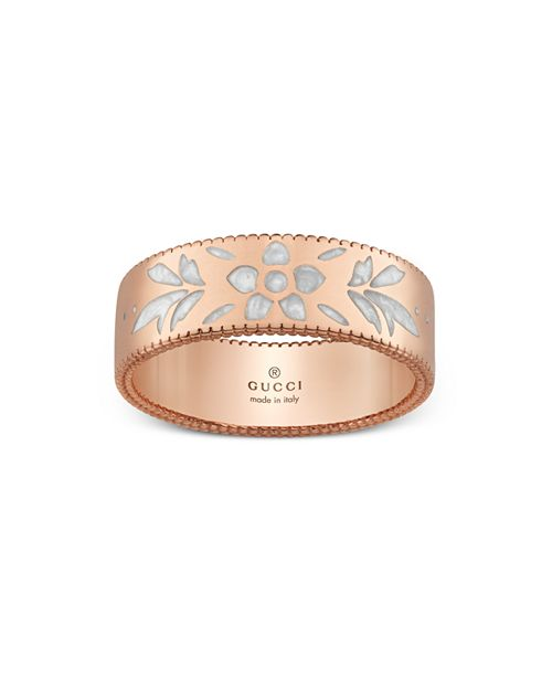 Gucci - 18K Pink Gold Mystic White Icon Blooms Ring
