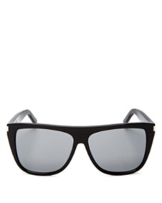 Saint Laurent - Women's Mirrored Flat Top Square Sunglasses, 59mm
