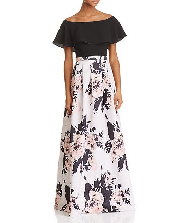 AQUA - Off-the-Shoulder Floral Skirt Gown - 100% Exclusive