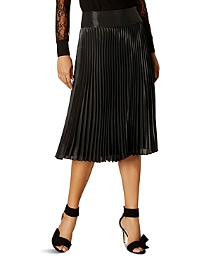 Karen Millen Metallic Pleated Midi Skirt