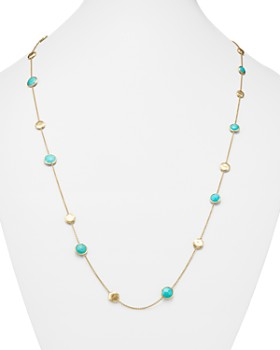 """Marco Bicego - 18K Yellow Gold Jaipur Necklace with Turquoise, 16"""""""