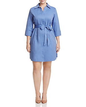 Foxcroft Plus Three-Quarter Sleeve Poplin Shirt Dress