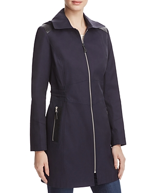 Via Spiga Infinity Faux Leather-Trimmed Raincoat