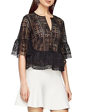 Bcbgmaxazria Immane Geometric Lace Top at Bloomingdale's
