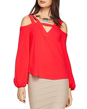 Bcbgmaxazria Tina Cold Shoulder Cutout Blouse at Bloomingdale's