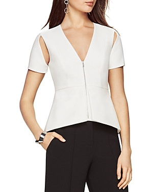 Bcbgmaxazria Haven Cold Shoulder Zip Front Top at Bloomingdale's