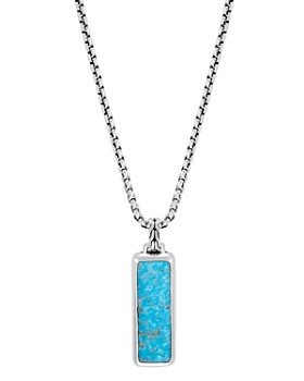 """JOHN HARDY - Sterling Silver Classic Chain Turquoise with Black Matrix Pendant Necklace, 26"""""""