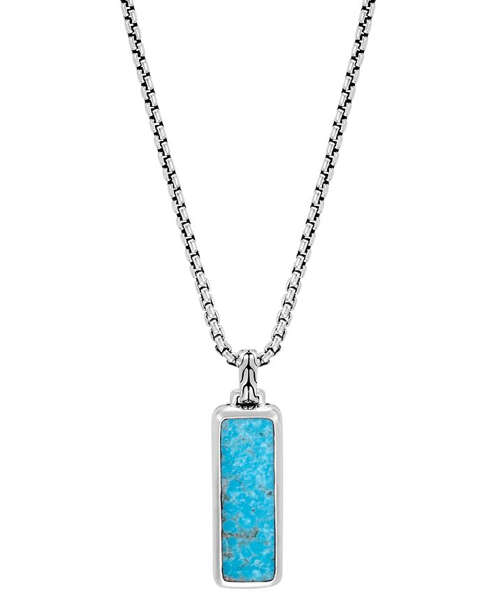 JOHN HARDY - Sterling Silver Classic Chain Turquoise with Black Matrix Pendant Necklace, 26""
