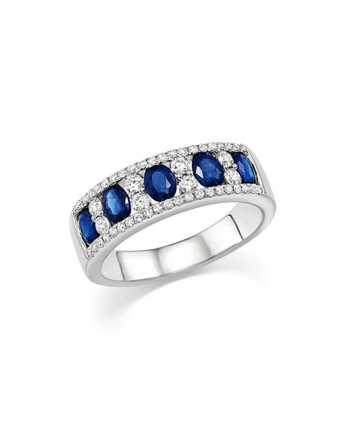 Bloomingdale's - Blue Sapphire Oval and Diamond Band in 14K White Gold - 100% Exclusive