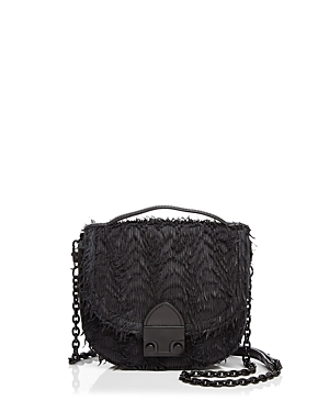 Loeffler Randall Fringe Mini Leather Saddle Bag