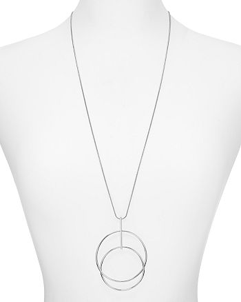 Argento Vivo - Double Hoop Long Pendant Necklace, 32""