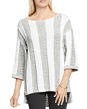 Two by Vince Camuto Mixed Knit Stripe Sweater