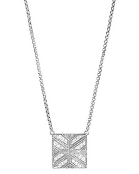 "JOHN HARDY - Sterling Silver Modern Chain Diamond Square Pendant Necklace, 16"""