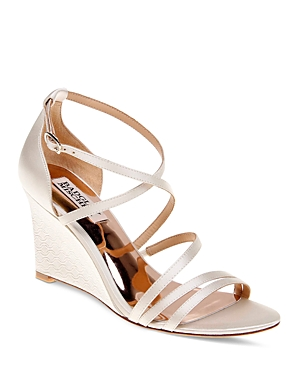 Badgley Mischka Bonanza Satin Strappy Wedge Sandals
