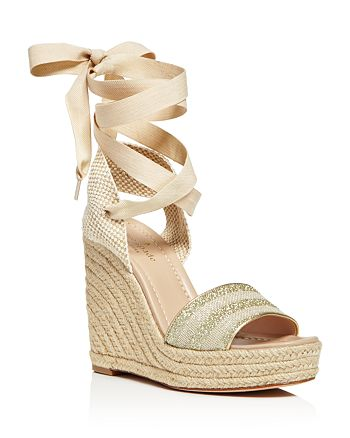 3b7ab2f38857 kate spade new york - Women s Delano Glitter Stripe Lace Up Espadrille  Platform Sandals