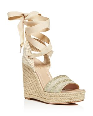 kate spade new york Delano Glitter Stripe Lace Up Espadrille Platform Sandals